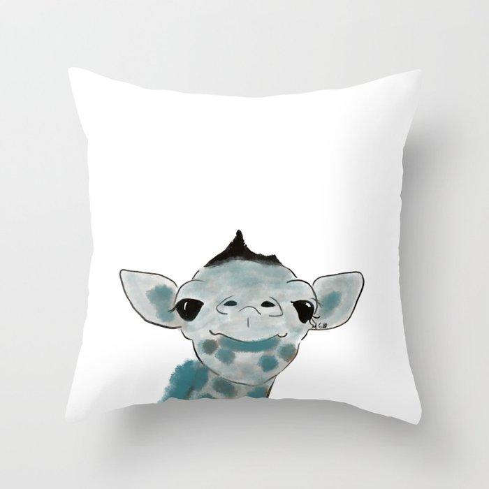 Happy Baby Giraffe Throw Pillow