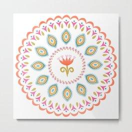 Suzani inspired floral 3 Metal Print