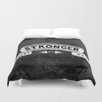 crossfit Duvet Covers featuring Stronger Every Day (dumbbell, black & white) by Lionheart Art