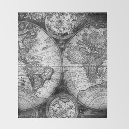 World Map Antique Vintage Black and White Throw Blanket