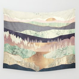 Golden Spring Reflection Wall Tapestry