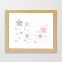 Pink Grey Gray Stars Framed Art Print