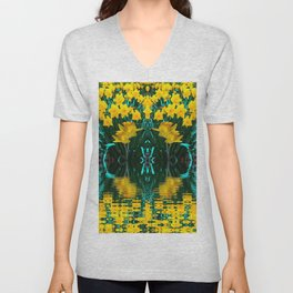 YELLOW DAFFODILS TURQUOISE PATTERNED GARDEN Unisex V-Neck