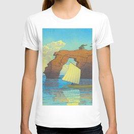 Kawase Hasui Natural Rock Arch w  Sailing Boat at Sea, Kawase Hasui, Japanese Woodblock Print  1937 T-shirt