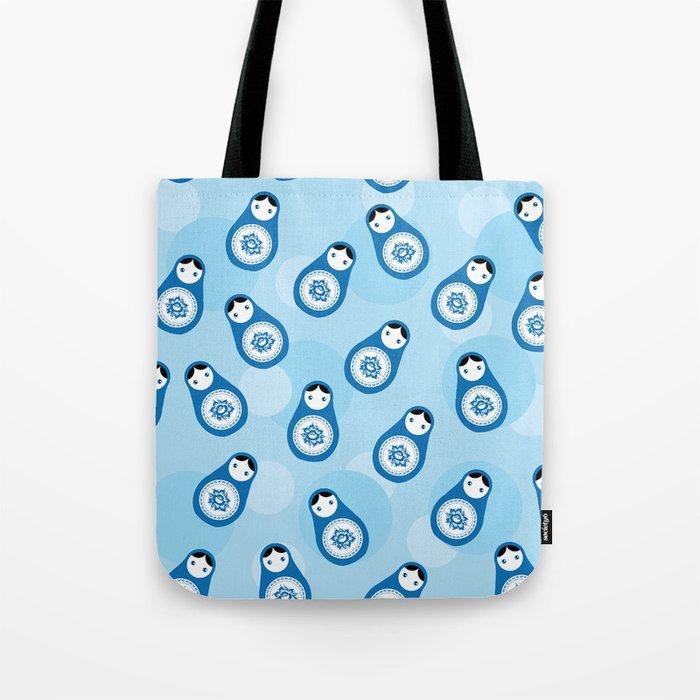 Matrioshka Doll Blue Parttern Tote Bag