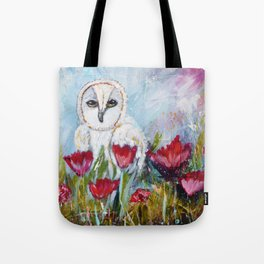 Owl in Poppies Tote Bag