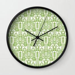 Swedish Folk Art - Greenery Wall Clock