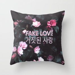 Fake Love Pink Floral Throw Pillow