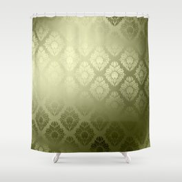 """Olive Damask Pattern"" Shower Curtain"