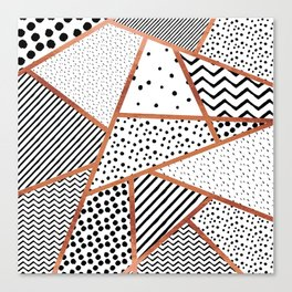 Sliced Patterns - Rose Gold Canvas Print