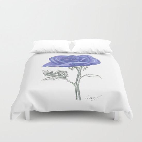 Rose 04 Botanical Flower * Silver Sterling Blue Rose: Love, Honor, Faith, Beauty, Devotion & Wisdom  Duvet Cover