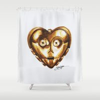 c3po Shower Curtains featuring C3PO Star Wars Heart Art  by Sam Skyler