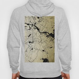 Amsterdam Gold on Black Street Map Hoody