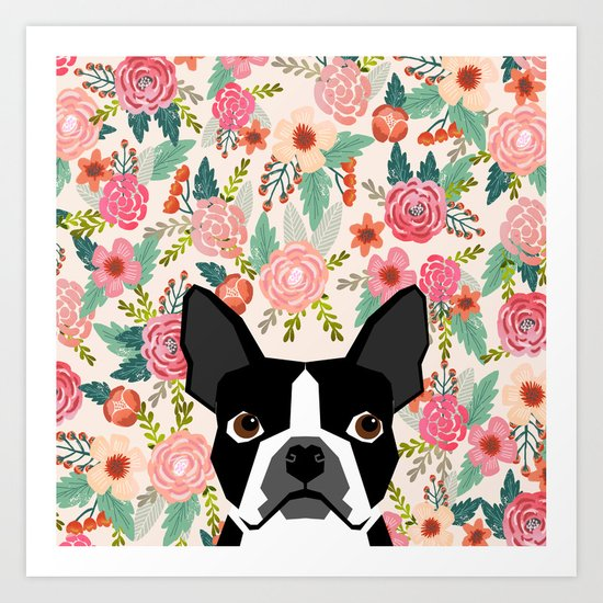 Boston Terrier floral dog head cute pet portrait gifts for boston terriers must haves by bostonterrier