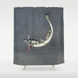 """ Moon's First Voyage"" Fairy Art by W Heath Robinson Shower Curtain"