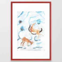Flurry oranges in the snow. Framed Art Print