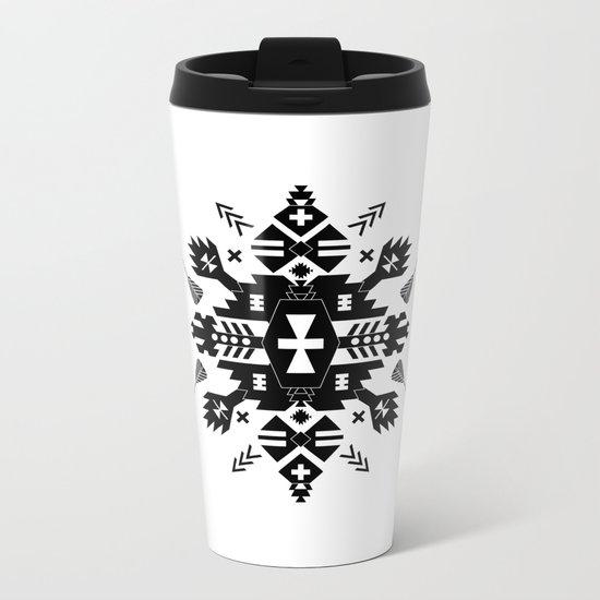 Tribal Black and White Metal Travel Mug