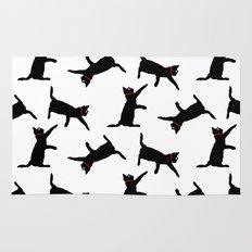 Cats-Black on White Rug