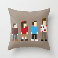 seinfeld Throw Pillows featuring Pixel Seinfeld by Vectorific Design