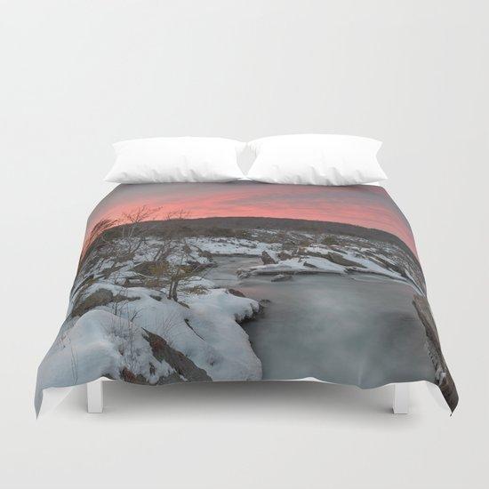 Great Falls Winter Twilight Duvet Cover