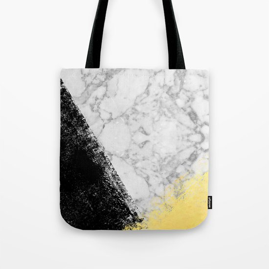 Marble with Black & Gold - gold foil, gold, marble, black and white, trendy, luxe, gold phone Tote Bag
