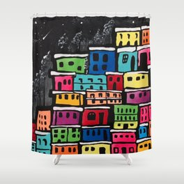 Colorful village Shower Curtain