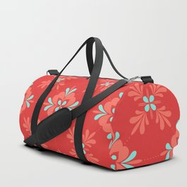 Red Background with Coral and Aqua Flower Pattern Duffle Bag