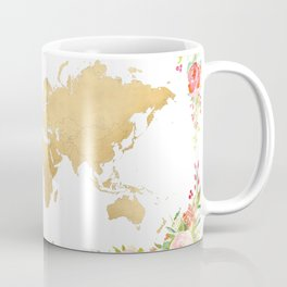 Floral and gold world map without labels Coffee Mug