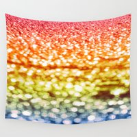 glitter Wall Tapestries featuring Rainbow Glitter Sparkles by Whimsy Romance & Fun