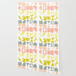 Organic Abstract Shapes in Soft Pastel Colors Wallpaper