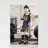 fitness Stationery Cards featuring Campbell Fitness Deadlift by Juan Perednik