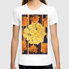 GOLDEN & YELLOW ROSES DARK STRIPES ART T-shirt