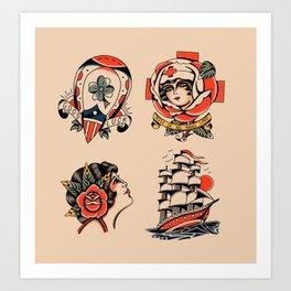 American traditional 4 flash Art Print