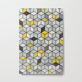 Colorful Concrete Cubes - Yellow, Blue, Grey Metal Print
