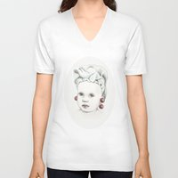 cherry V-neck T-shirts featuring Cherry by VicFreyd