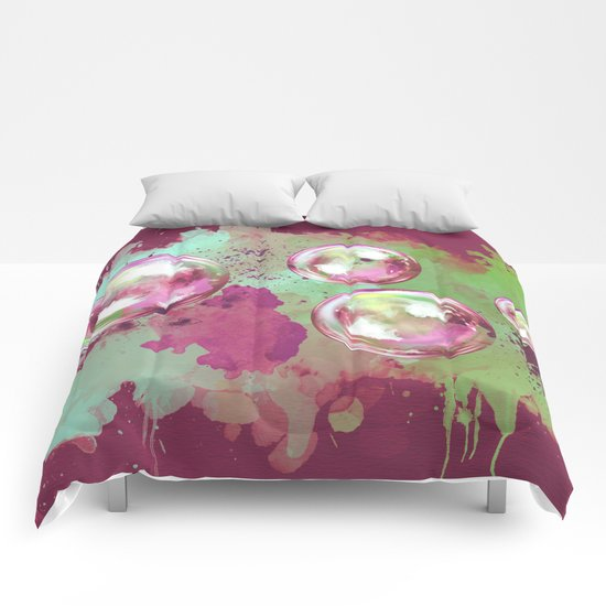 Soap bubbles in the sky watercolor painting Comforters