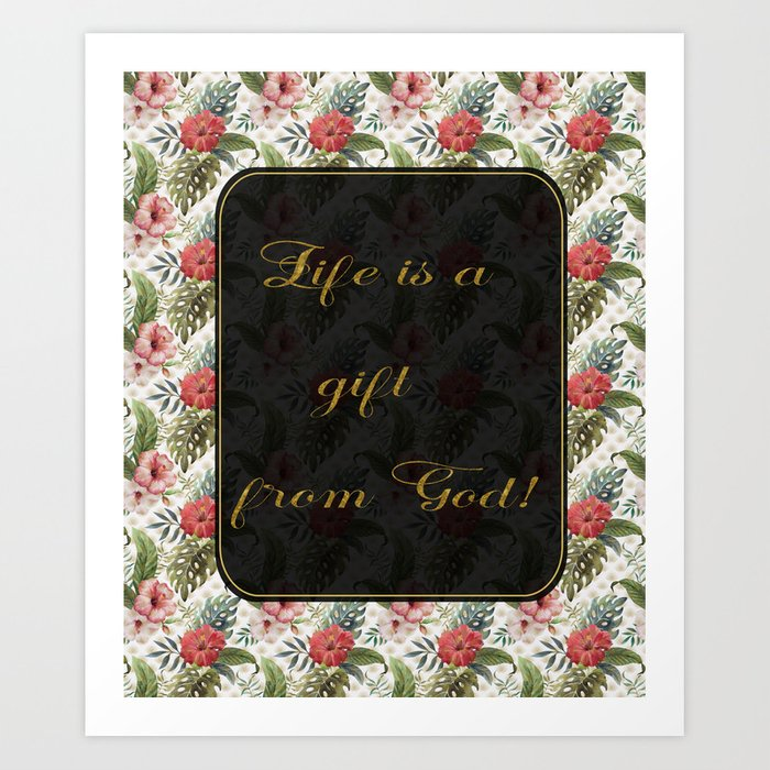 Tropical Flowers Golden Great Gatsby Style Art Print by art4sharing | Society6
