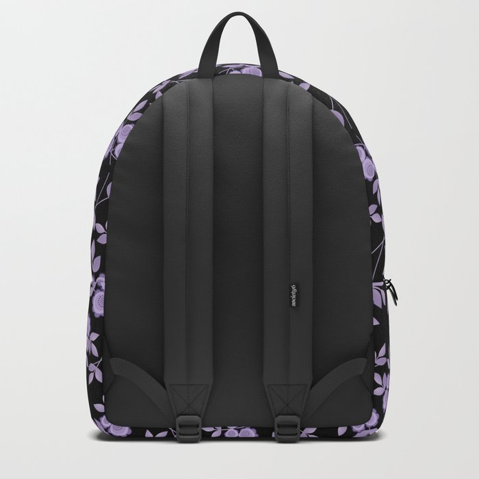 Retro . purple flowers on a black background . Backpack