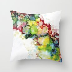 Abstract ink ethereal painting colorful watercolors Throw Pillow
