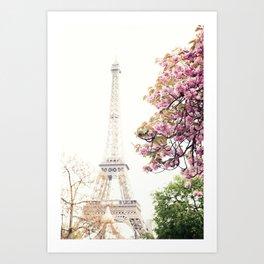 Cherry blossoms in Paris, Eiffel Towerr Art Print