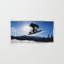 Born To Fly Snowboarder & Mountains Hand & Bath Towel