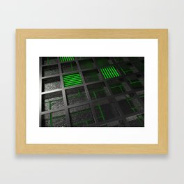 Futuristic industrial brushed metal grate with glowing lines Framed Art Print
