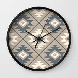 Aztec Symbol Stylized Pattern Blue Cream Sand Wall Clock