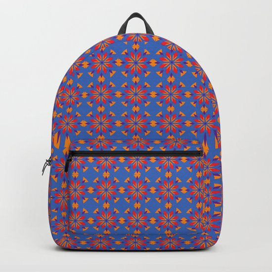 Red flowers Tile pattern Backpack