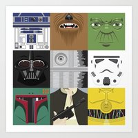 starwars Art Prints featuring Starwars combo by Alex Patterson AKA frigopie76