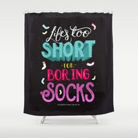 socks Shower Curtains featuring Boring Socks by Illustration by Julia