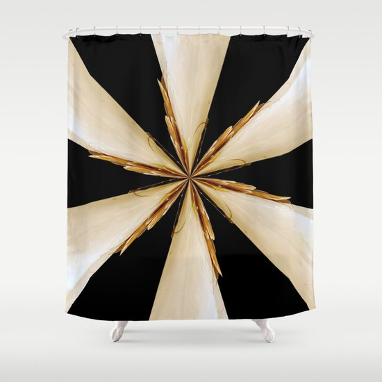 Black White And Gold Star Shower Curtain By Bella Mahri PhotoArt By Tina S