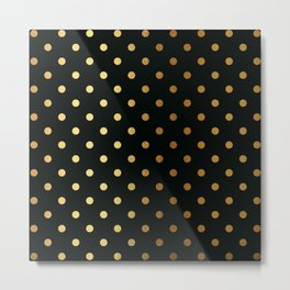 Gold polka dots on black pattern Metal Print