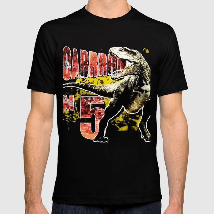 5th Birthday Gift 5 Year Old Boys Dinosaurs Present T Shirt