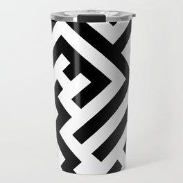 Black and White Diagonal Labyrinth Travel Mug